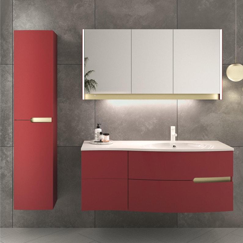 Meuble de salle de bains l.130.2 x H.53.6 x P.51.6 cm, rouge tomette ...