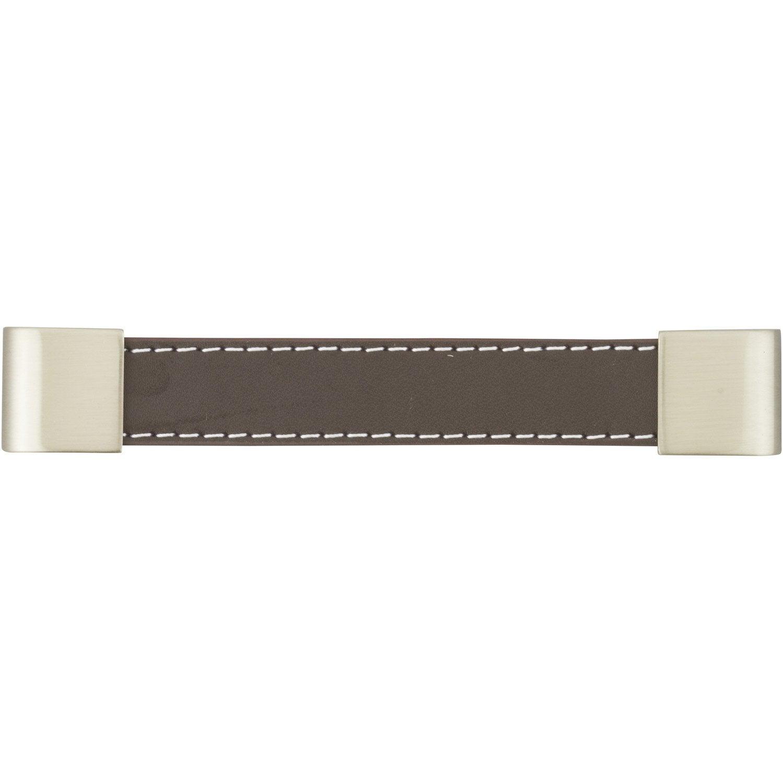 Poignée de meuble cuir mat entraxe 128 mm