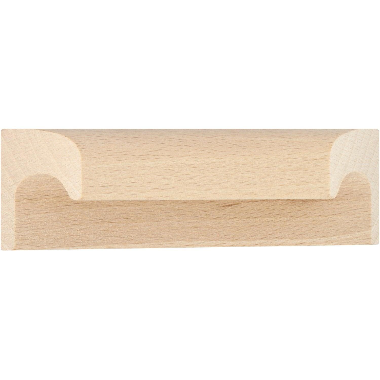 Poignée de meuble Applique bois brut entraxe 64 mm