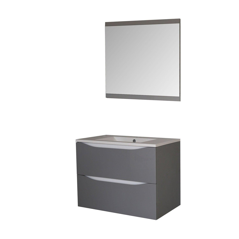 meuble sous vasque miroir x x cm gris smile leroy merlin. Black Bedroom Furniture Sets. Home Design Ideas