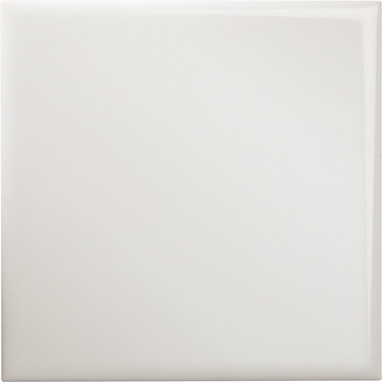 Faïence mur uni blanc brillant l.15 x L.15 cm, Blanc