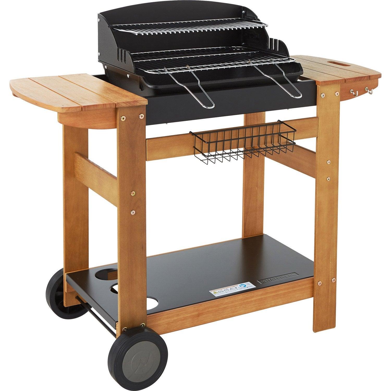 barbecue au charbon de bois naterial senlis noir et gris leroy merlin. Black Bedroom Furniture Sets. Home Design Ideas