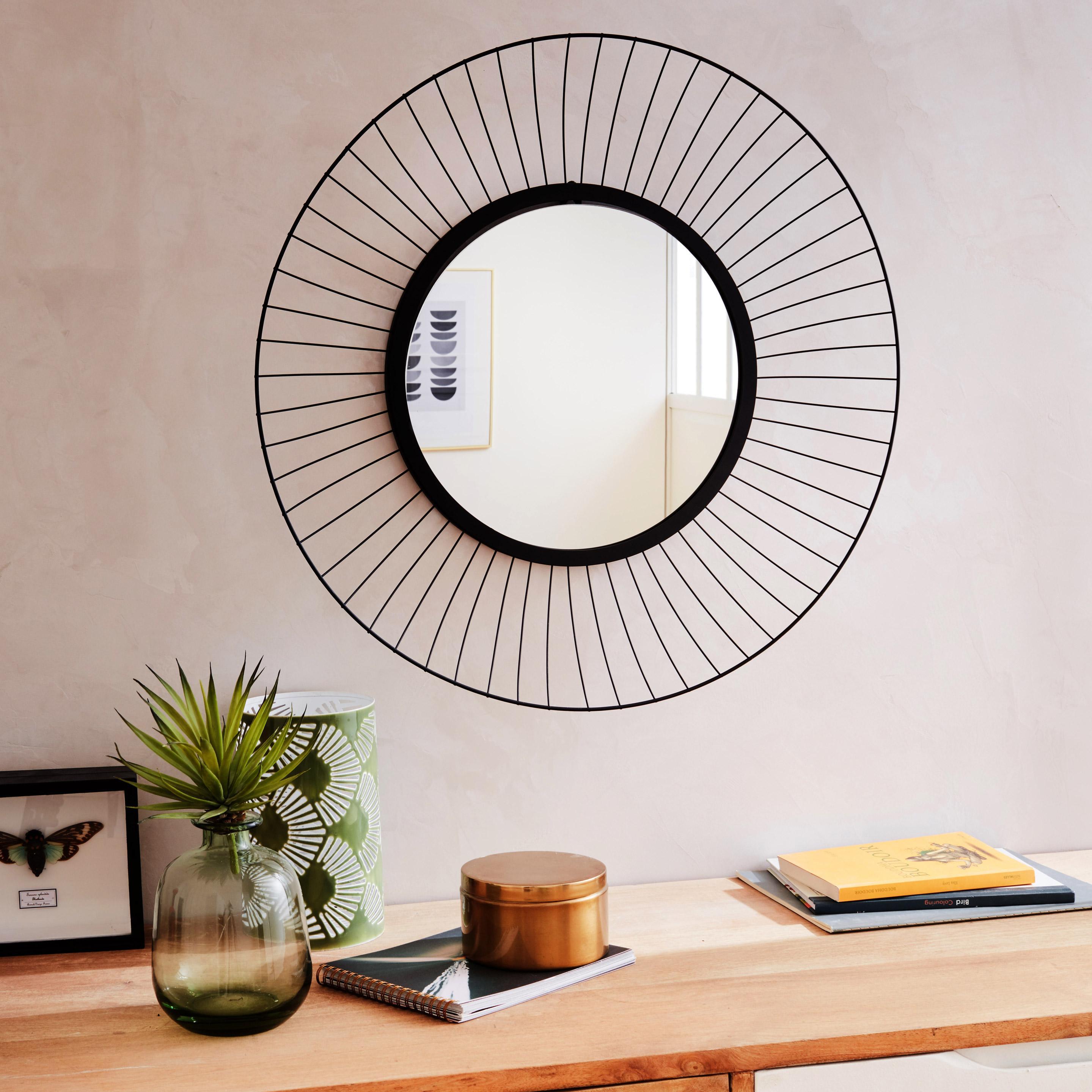 Miroir Kasteli, noir mat, l.32 x H.32 cm