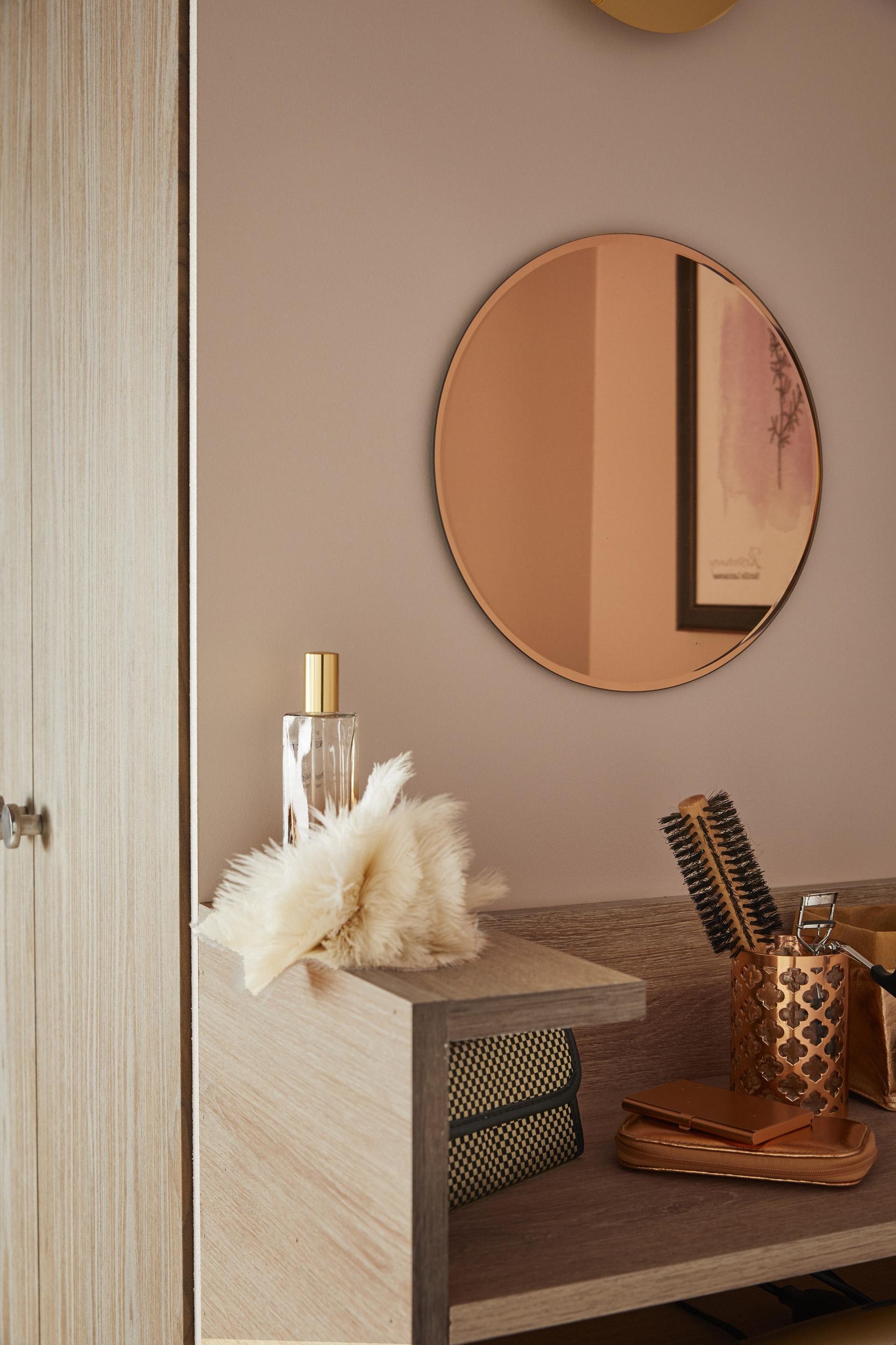 Miroir rond Cuivre, D 30 cm