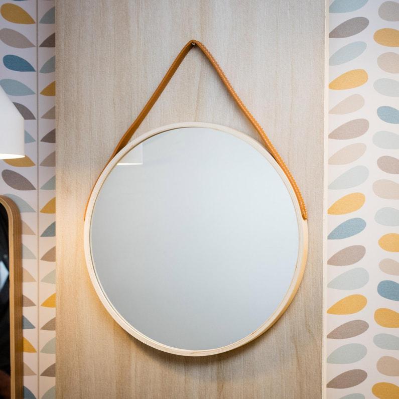 Miroir rond Barbier scandinave, l.39 x H.39 cm