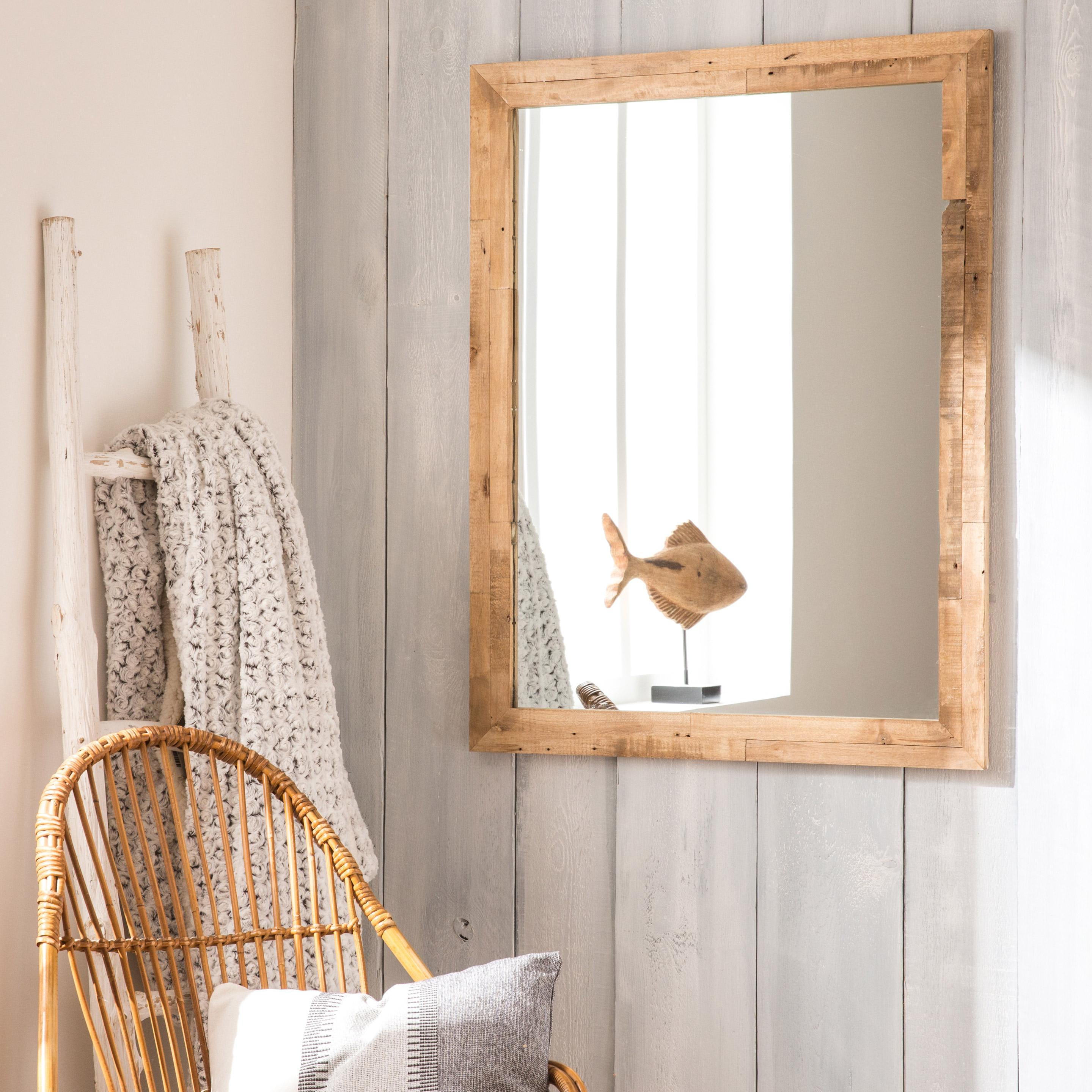 Miroir rectangulaire Brut, naturel, l.71 x H.91 cm