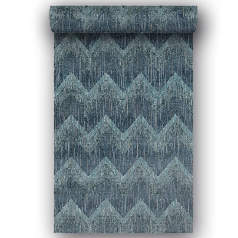 Papier peint vinyle sur intissé Motif mouna bleu