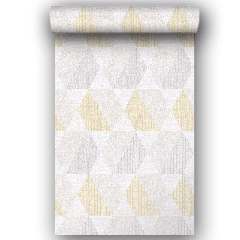 Papier peint vinyle sur intissé Motif géométrique losange jaune