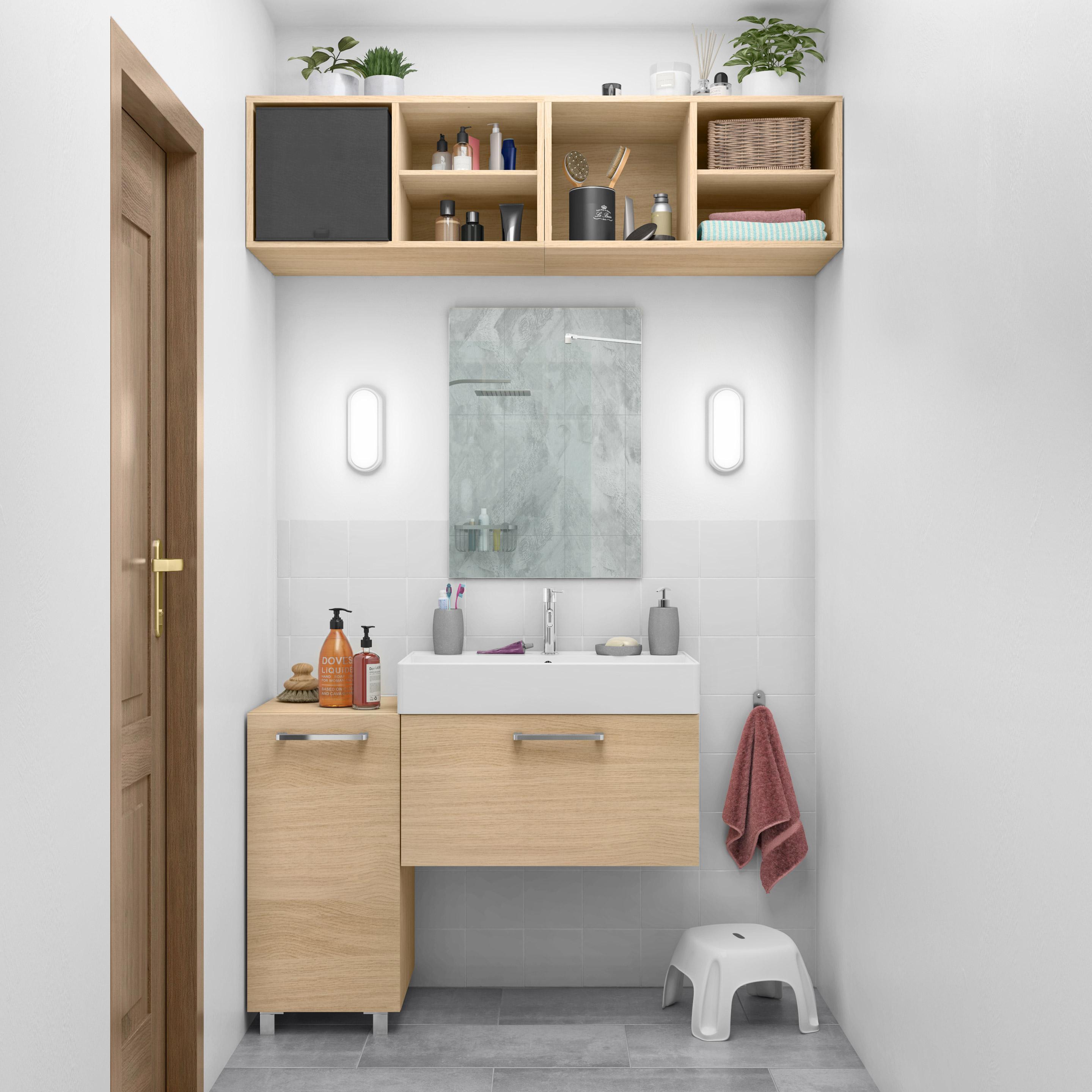Meuble simple vasque encastée l.70 x H.37 x P.40 cm, effet chêne naturel, Easy