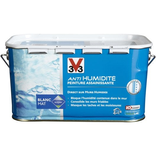 Peinture antihumidit v33 blanc 2 5 l leroy merlin for Peinture anti bruit efficacite