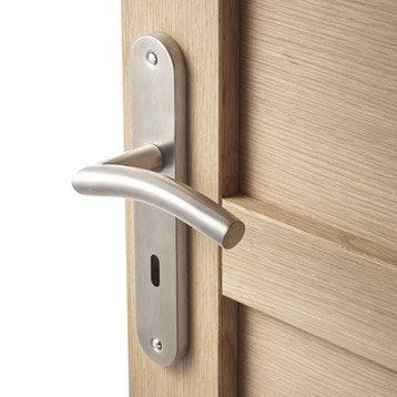 2 poignées de porte Margaud trou de clé INSPIRE, acier inoxydable, 195 mm