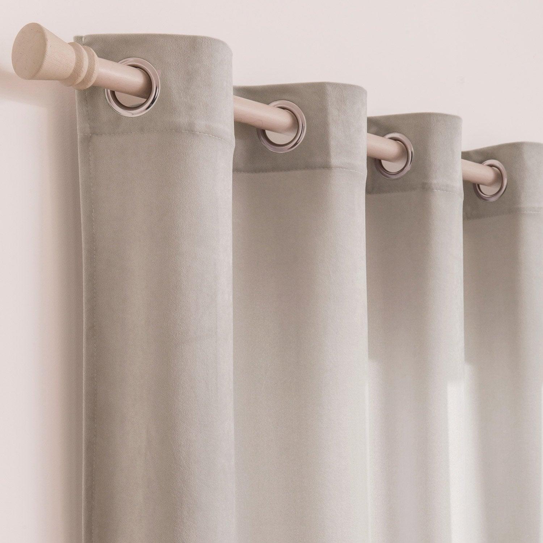 Rideau tamisant, Dubbo velours, gris galet n°5, l.140 x H.260 cm INSPIRE