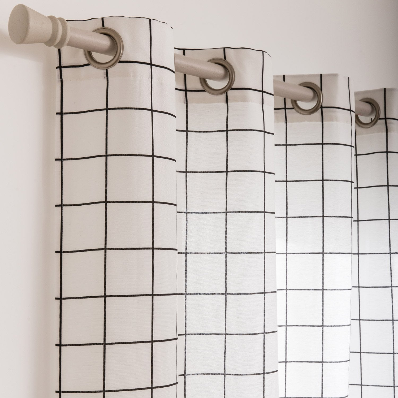 Rideau tamisant, Cahier, blanc/noir, l.135 x H.250 cm | Leroy Merlin