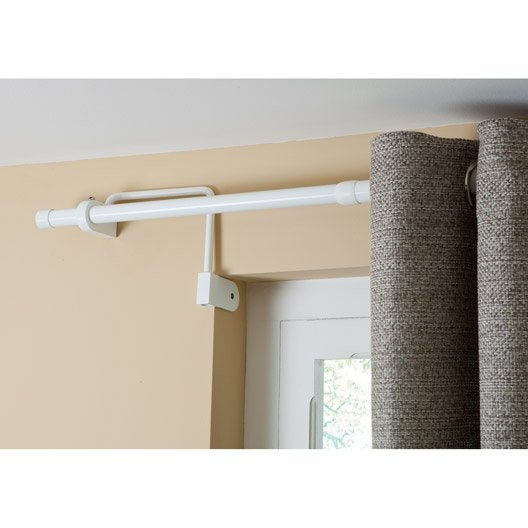 Tringle rideau extensible city blanc satin de 100 180 for Fixer des rideaux sur fenetre pvc