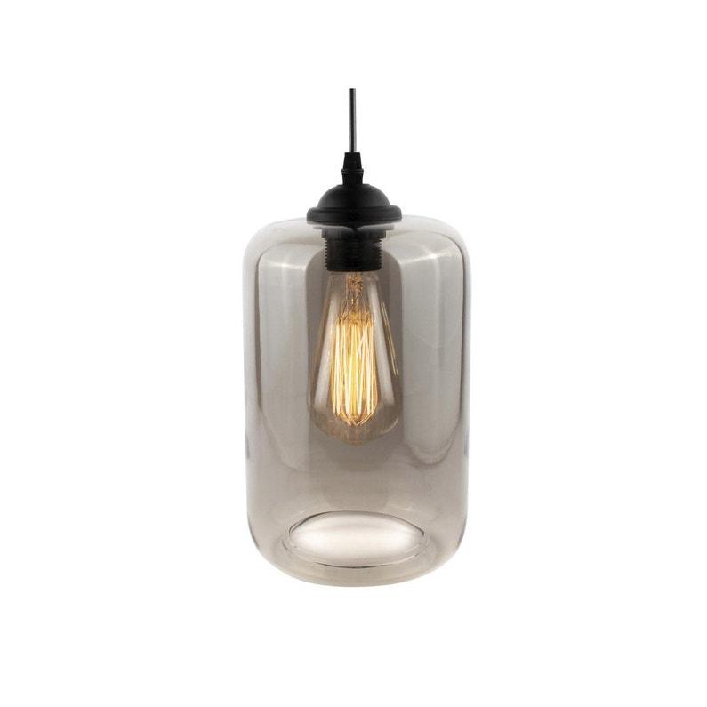 Suspension Verre Transparent Leitmotiv Oiled Tube 1 Lumières D25 Cm