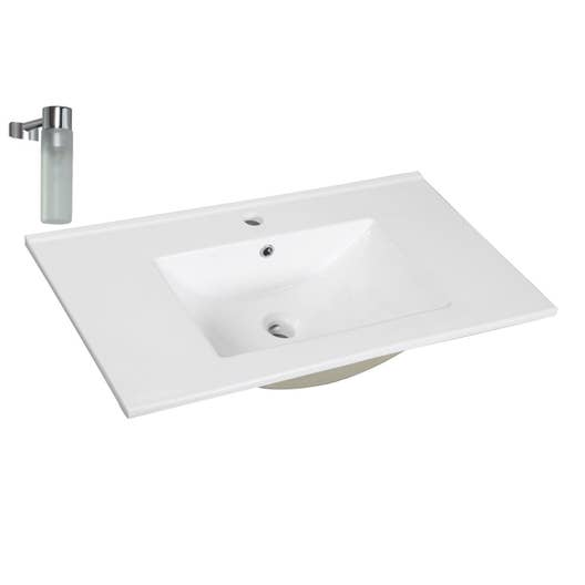 Plan vasque simple dado c ramique 61 cm leroy merlin - Plan lavabo salle de bain ...