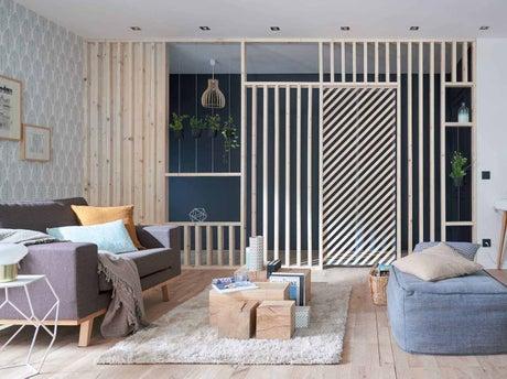 cr er une cloison et une porte g om trique avec des. Black Bedroom Furniture Sets. Home Design Ideas