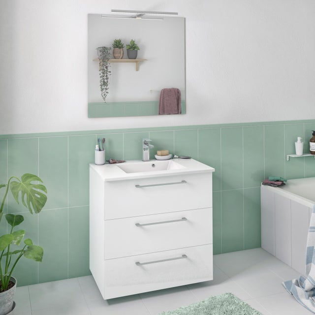 Meuble Simple Vasque L 60 X H 73 X P 46 Cm Blanc Remix Leroy Merlin