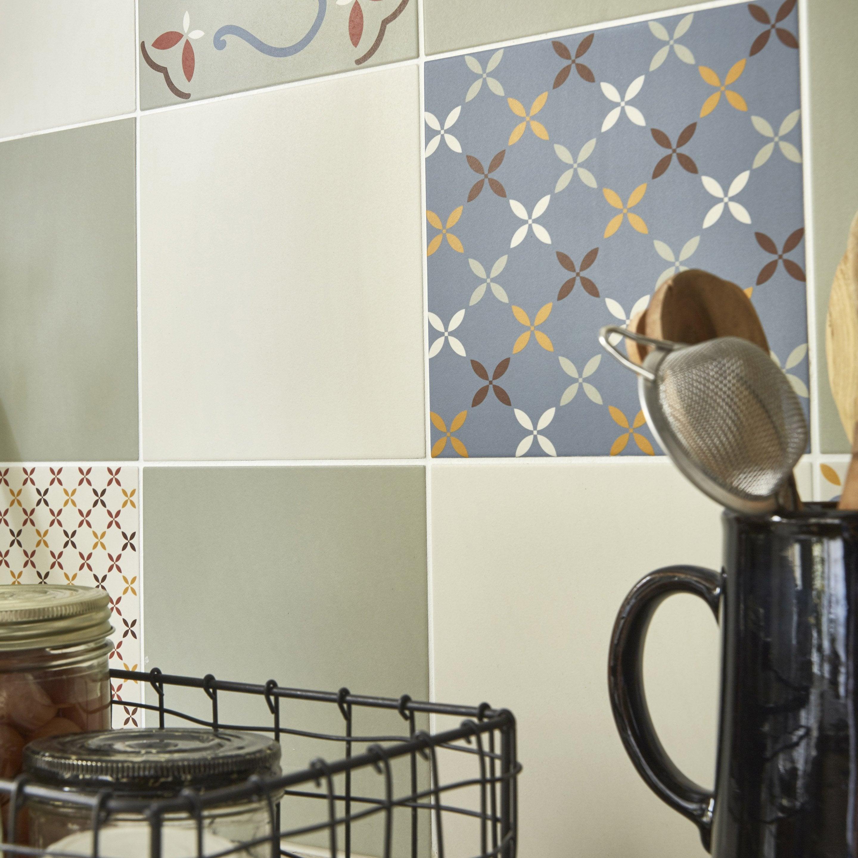 Carrelage sol, mur forte carreau de ciment beige Locarno l.20xL.20 cm ARTENS