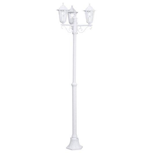 Lampadaire ext rieur laterna e27 60 w blanc eglo leroy for Petit lampadaire exterieur