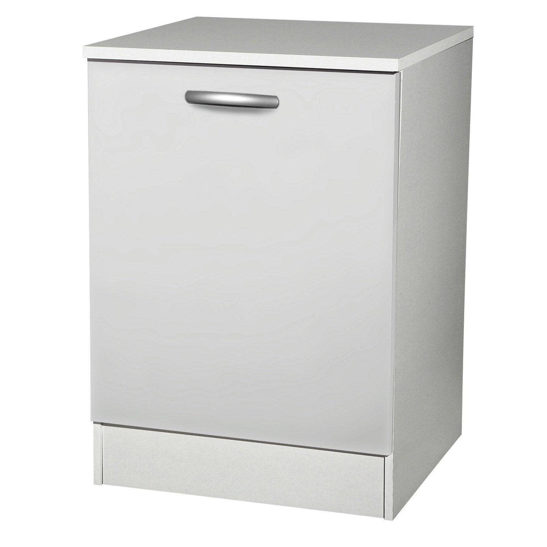 meuble de cuisine bas 1 porte blanc h86x l60x p60cm. Black Bedroom Furniture Sets. Home Design Ideas