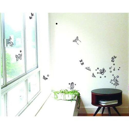 sticker papillons miroir argent 21 cm x 29 7 cm leroy merlin. Black Bedroom Furniture Sets. Home Design Ideas