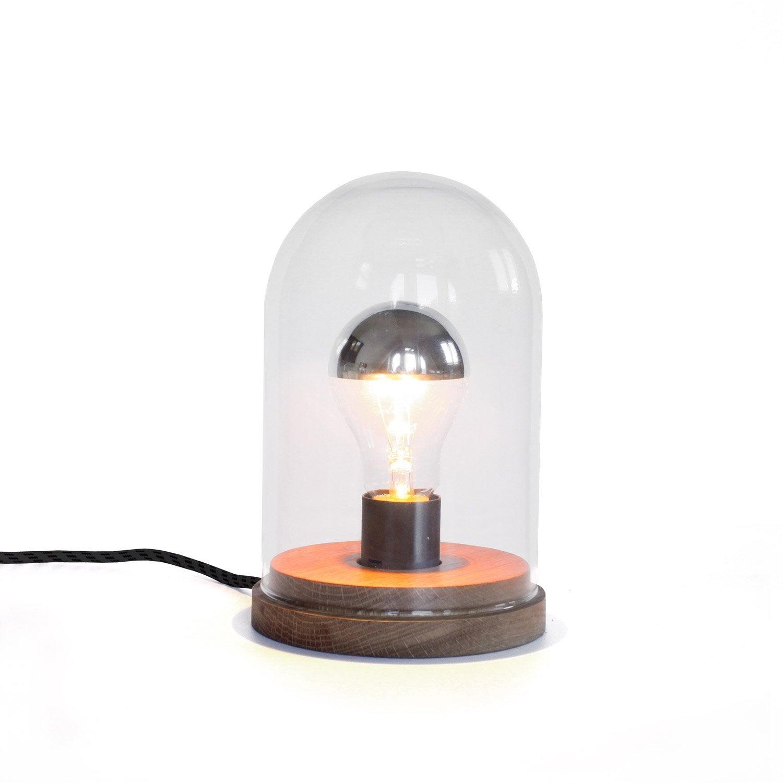 Lampe, vintage, verre bois, DESIGNER BOX Lumière précieuse