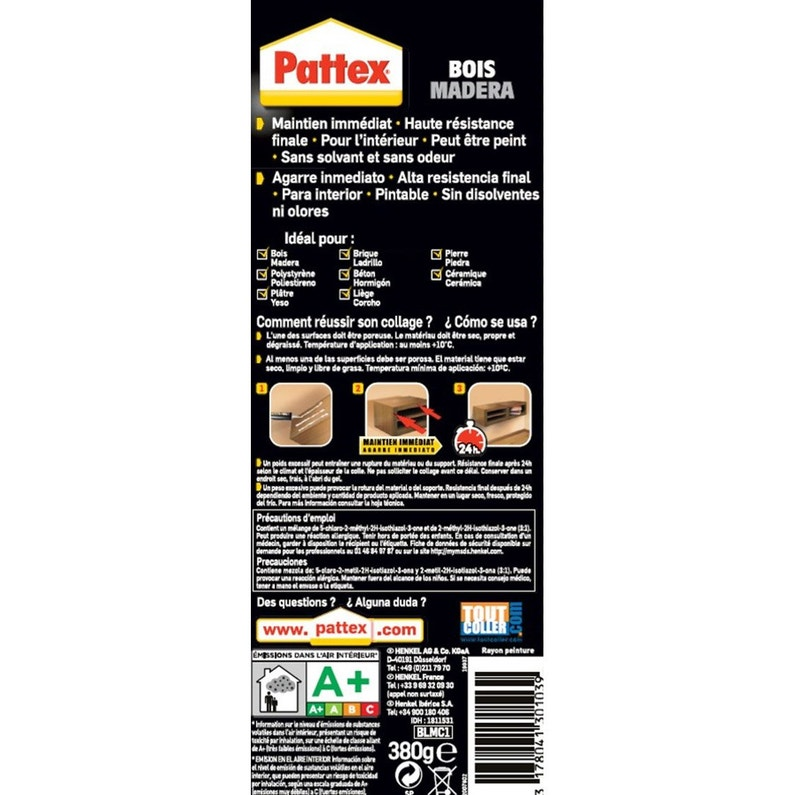 Colle Mastic Fixation Plinthes Pattex 380 G Leroy Merlin