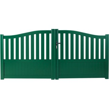 Portail battant aluminium Moellan vert NATERIAL, l.300 cm x H.140 cm