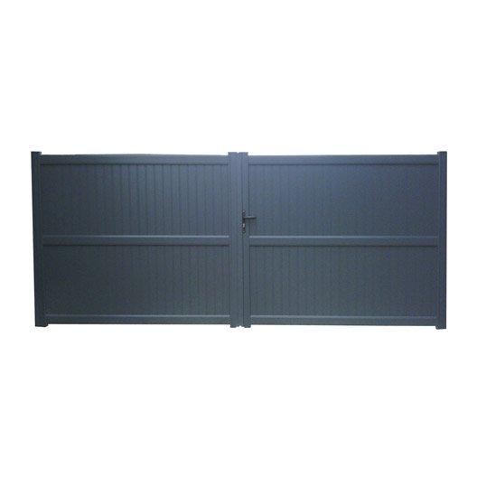 Portail battant aluminium Noyal gris anthracite NATERIAL, l.350 x H.180 cm