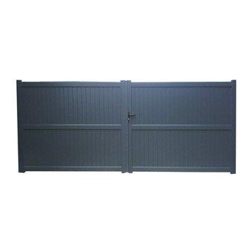 Portail battant aluminium Noyal gris NATERIAL, l.350 cm x H.180 cm