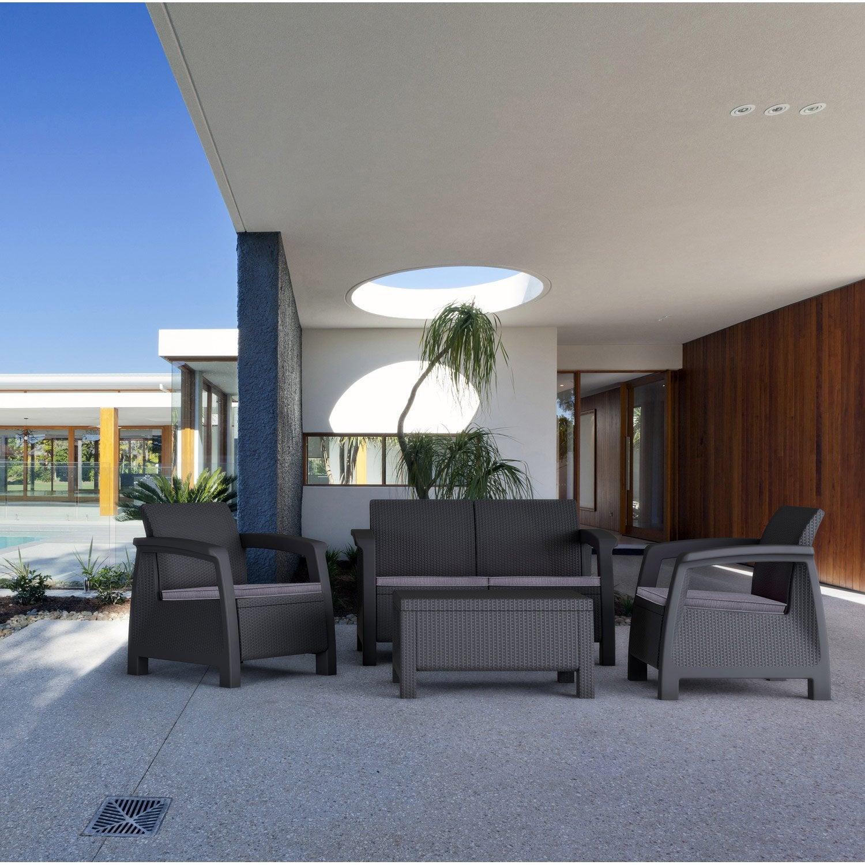 Salon de jardin Bahamas résine injectée anthracite, 4 personnes ...