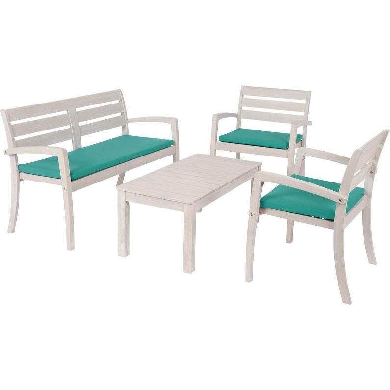 Salon bas de jardin Portofino bois naturel, 4 personnes
