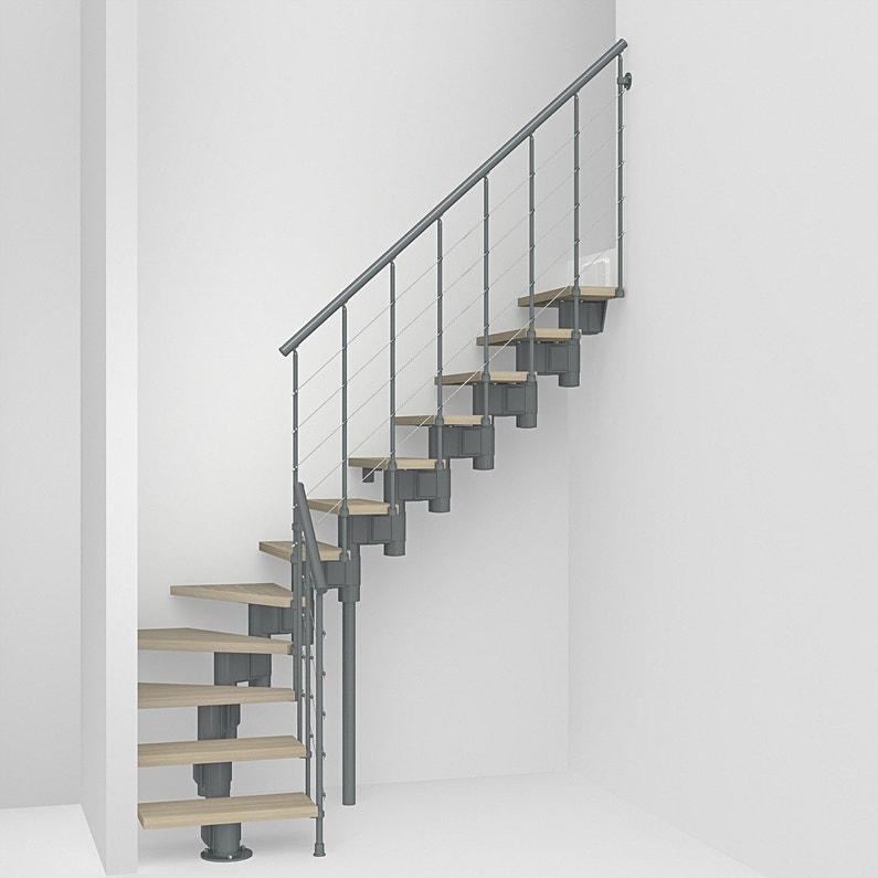 Escalier 1 4 Tournant Longtube Structure Acier Marche Bois Leroy
