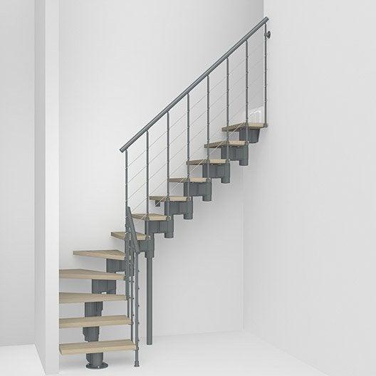 Escalier modulaire longline structure m tal marche bois for Escalier interieur leroy merlin