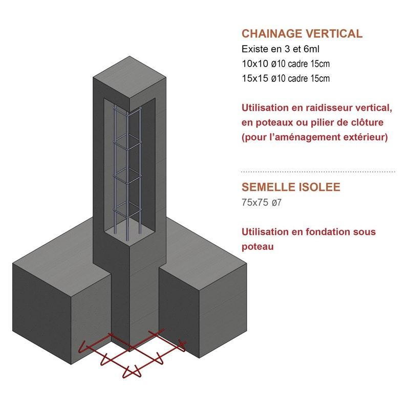 Armature Poteau Z3 15 X 15 Cm Diam 10 Mm L 3 M