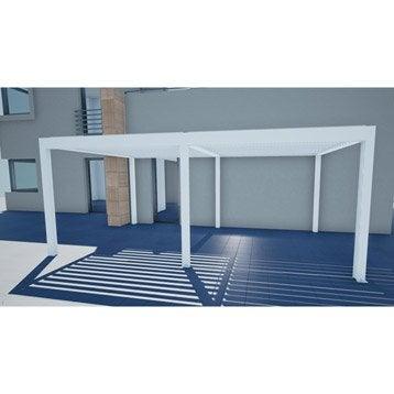 Pergola autoportante orient, aluminium blanche, 18 m²