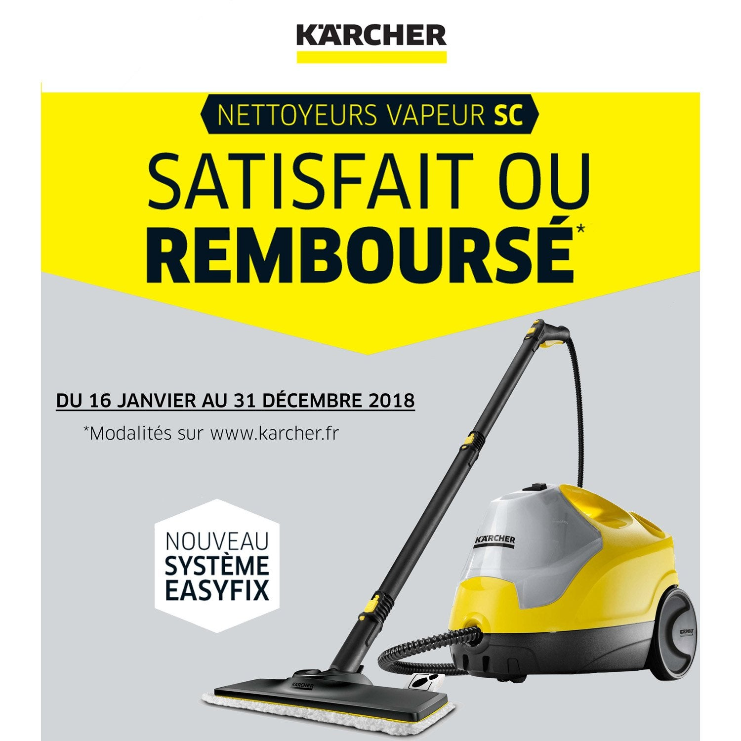 nettoyeur vapeur pour sols karcher sc4 easy fix 2000 w. Black Bedroom Furniture Sets. Home Design Ideas