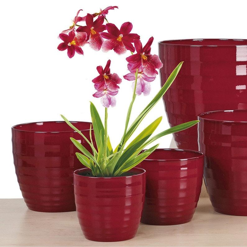 Cache Pot Céramique Diam 19 X H 17 2 Cm Rouge Sombre