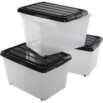 Lot de 3 boîtes Roller box en plastique , L. 38 x P. 55 x H. 33 cm, 50L