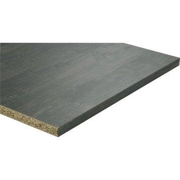 Tablette mélaminé planche usée noire SPACEO, L.250 x l.65 cm x Ep.28 mm