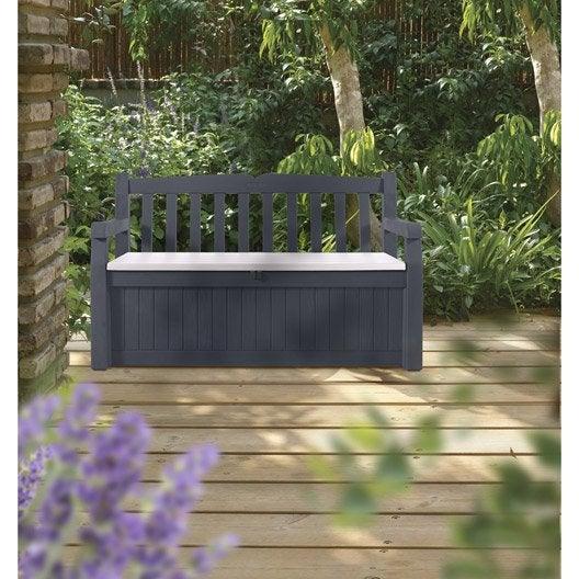Coffre de jardin r sine eden garden bench gris noir l for Coffre jardin resine gris
