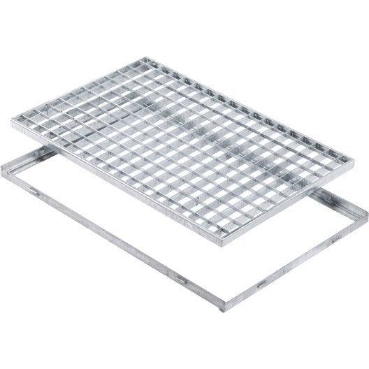 grille caillebotis et cadre acier galvanisé l.59 x l.59 cm mea