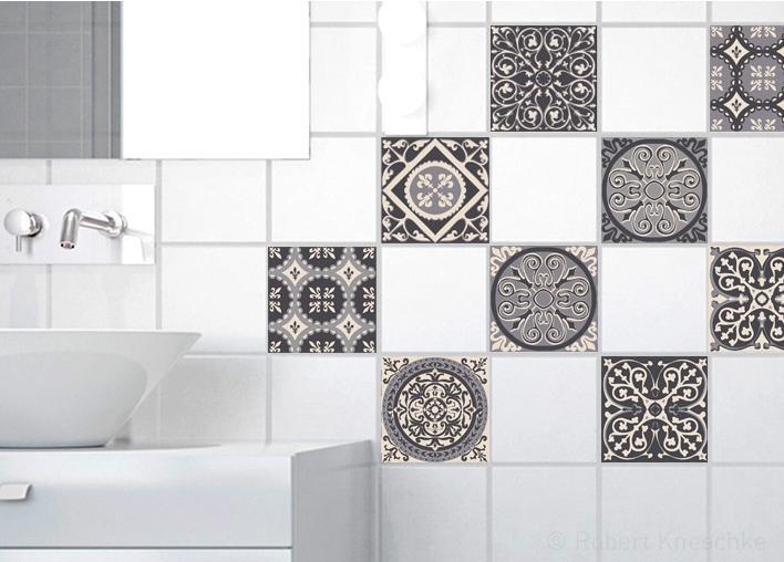 Stickers adhésifs carrelage mural Carreaux de ciment gris 10 cm x 10 cm